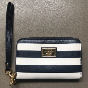 Michael Kors Blue and White striped wristlet